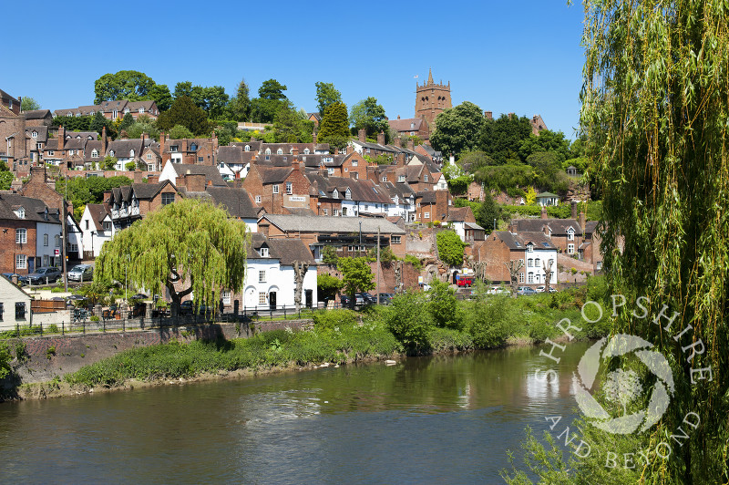 The market town of Bridgnorth reflected in the River Severn, Shropshire, England.
