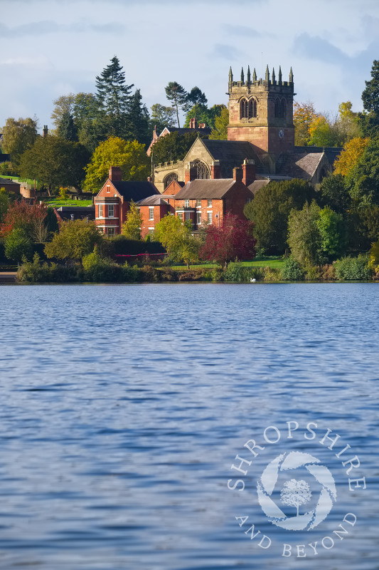 St Mary's Church and the Mere in autumn at Ellesmere, North Shropshire.