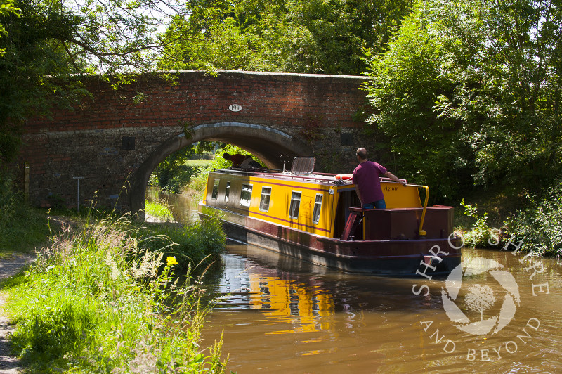 A narrowboat on the Llangollen Canal in Shropshire near Chirk, England.