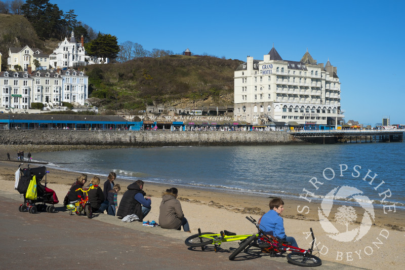 The pier and seafront at Llandudno, north Wales.