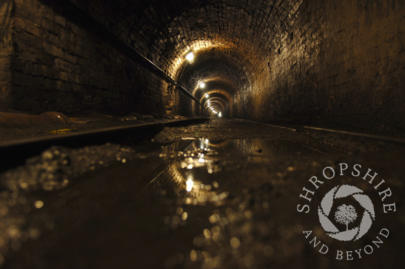 The Tar Tunnel, one of the Ironbridge Gorge Museums, at Coalport, Shropshire, England.