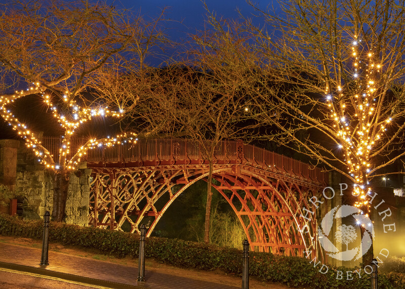 Christmas lights at Ironbridge, Shropshire.