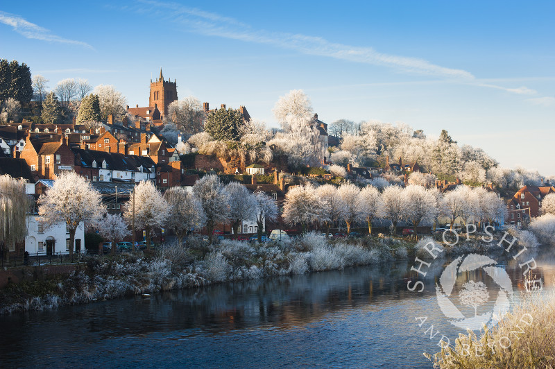 Bridgnorth under a layer of hoar frost reflected in the River Severn, Shropshire, England.