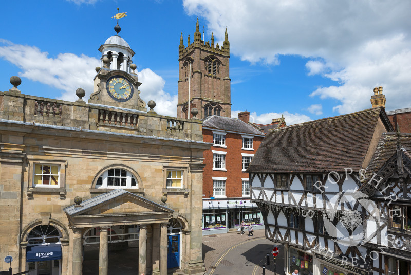 The Buttercross Museum and St Laurence's Church, Ludlow, Shropshire.