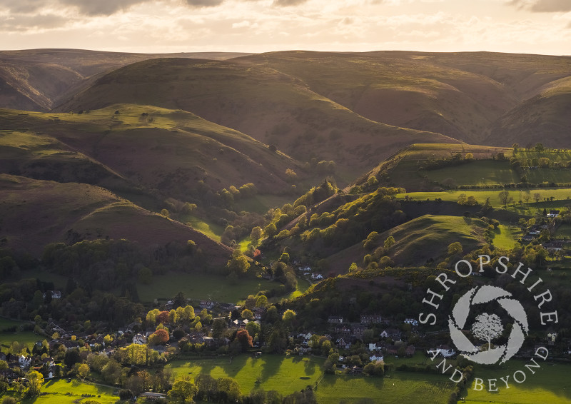 Batch Valley and the Long Mynd with the village of All Stretton, seen from Caradoc, Shropshire.