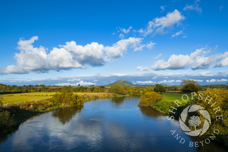 The Wrekin and River Severn seen from Cressage, near Much Wenlock, Shropshire.