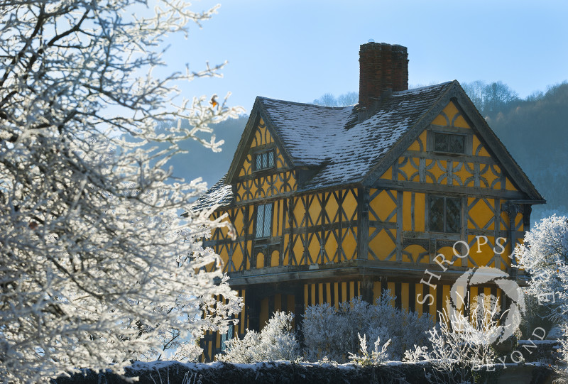 Hoar frost at the 17th century gatehouse of Stokesay Castle, near Craven Arms, Shropshire, England.