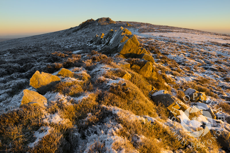 Sunrise on the Stiperstones, Shropshire, England.