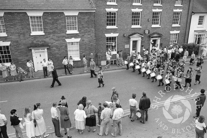Ray Turnock leads the annual carnival procession in Victoria Road, Shifnal, Shropshire, in June 1987.