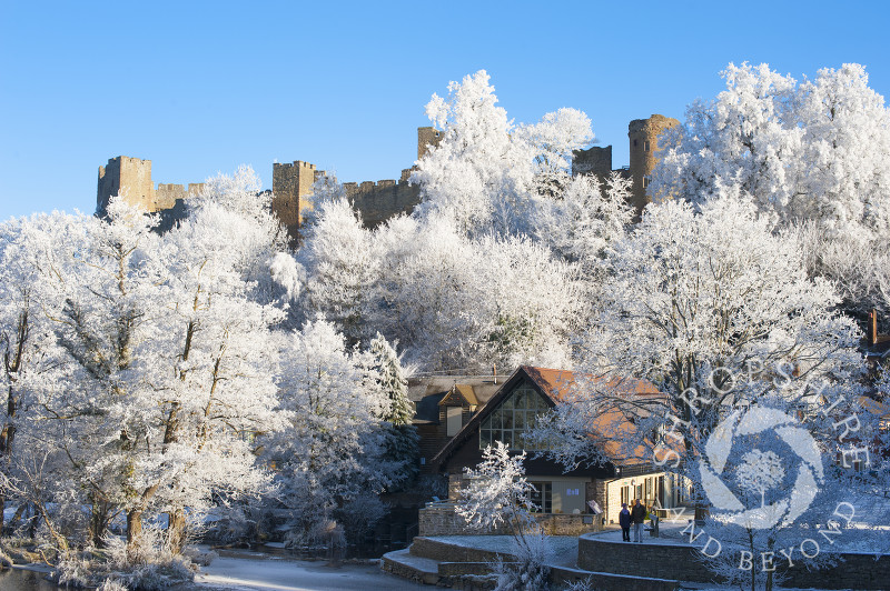 The market town of Ludlow under a layer of hoar frost, Shropshire, England.