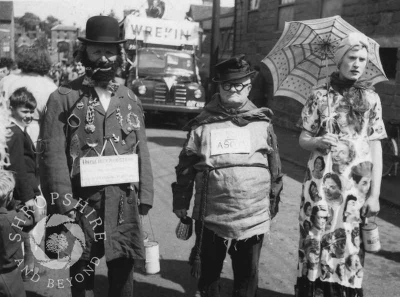 Carnival characters in Shrewsbury Road, Shifnal, Shropshire, in the 1950s.