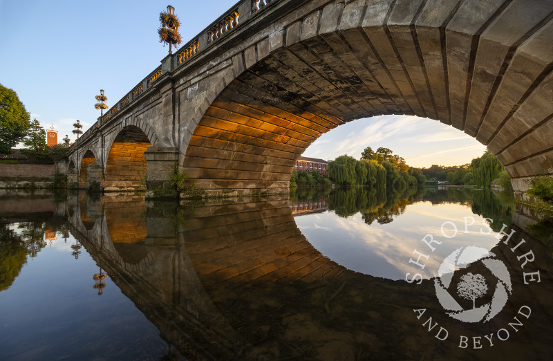 Evening light on Welsh Bridge, Shrewsbury, Shropshire.