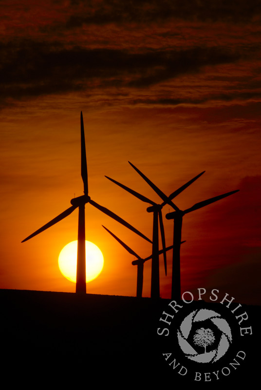 Sunset at Carno Wind Farm in Powys, Mid Wales.