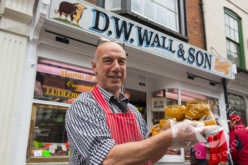 Ian Ray of Wall & Son with his pies, part of the pie trail at the 2017 Ludlow Spring Festival