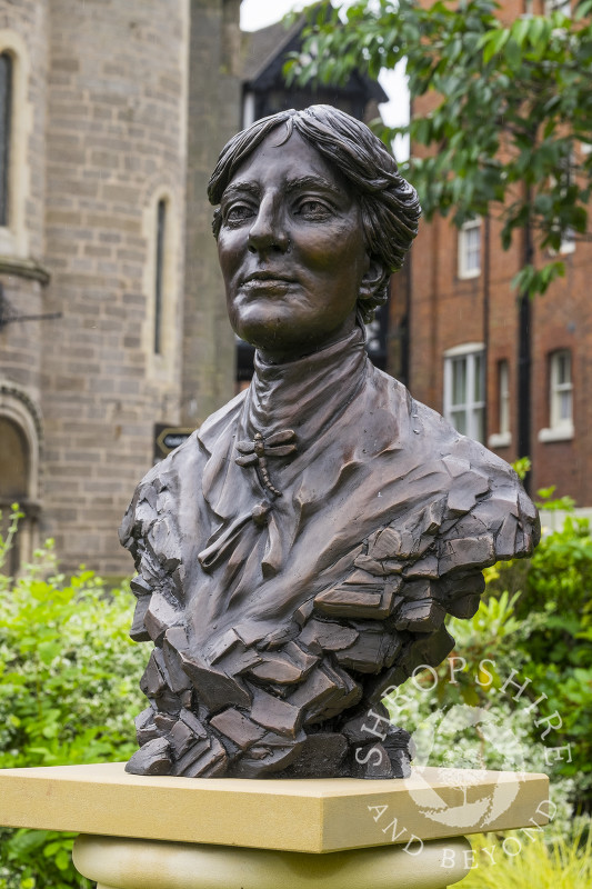 Bronze bust of the novelist Mary Webb outside Shrewsbury Library,  Shropshire. It commemorates the centenary of the publication of her first book, The Golden Arrow.