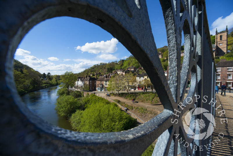 A view through the railings of the Iron Bridge in Ironbridge, Shropshire, England.