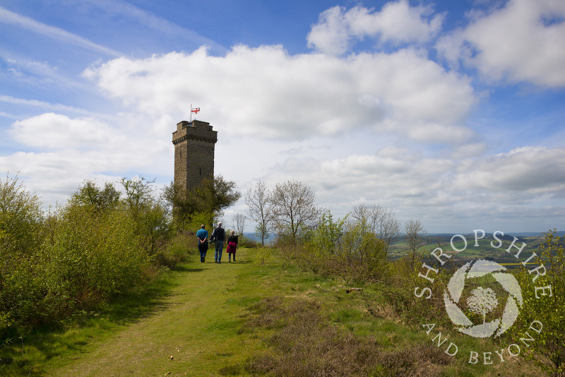 Walkers approach Flounders' Folly on Callow Hill near Craven Arms, Shropshire, England.