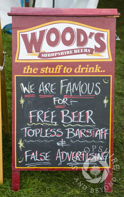 Wood's Brewing Company advertising board at Ludlow Food Festival, Shropshire.