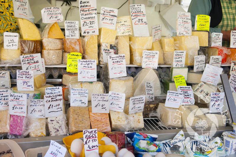 Cheese for sale at the market in Ludlow, Shropshire, England.
