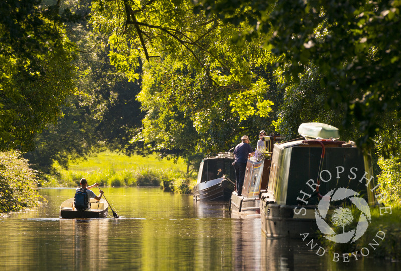 A peaceful scene on the Llangollen Canal at Ellesmere, Shropshire.