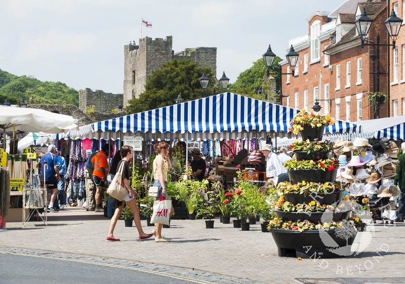 The busy street market in Castle Square, Ludlow, Shropshire.