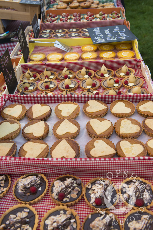 A display of pastries and bakes by Love Patisserie at Ludlow Food Festival, Shropshire.
