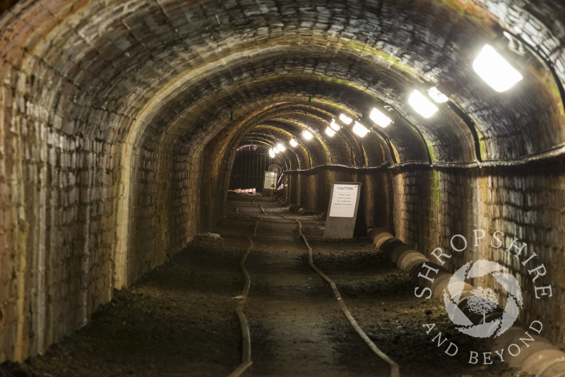 The Tar Tunnel, one of the Ironbridge Gorge Museums, at Coalport, Shropshire.