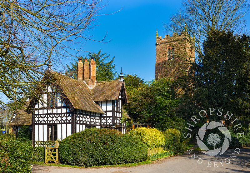 St Mary's Church and a black and white cottage in Sheriffhales, near Shifnal, Shropshire.