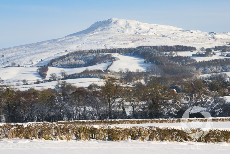 A snow-covered Titterstone Clee, Shropshire.