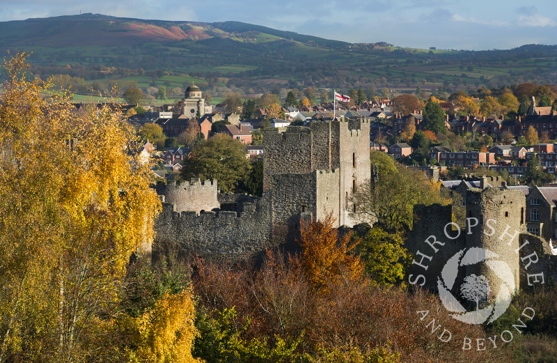 Autumn in the market town of Ludlow, seen from Whitcliffe Common, Shropshire, England.