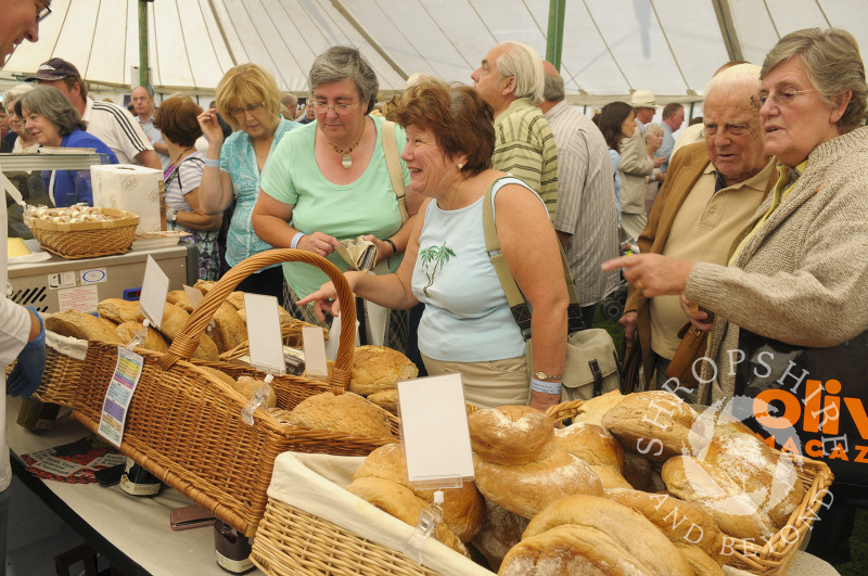 Loaves of bread for sale at Ludlow Food Festival, Shropshire, England.