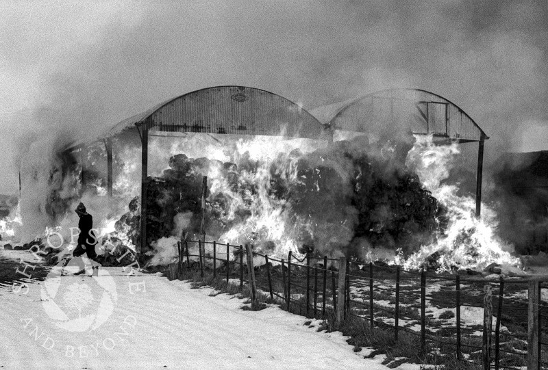 Upton barn fire, Shifnal, Shropshire, March 1965.