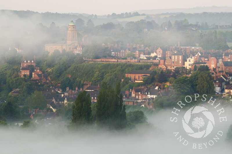 Early morning mist over Bridgnorth, Shropshire, seen from High Rock.
