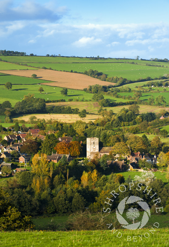 An autumn view of Cardington, near Church Stretton, Shropshire, England.