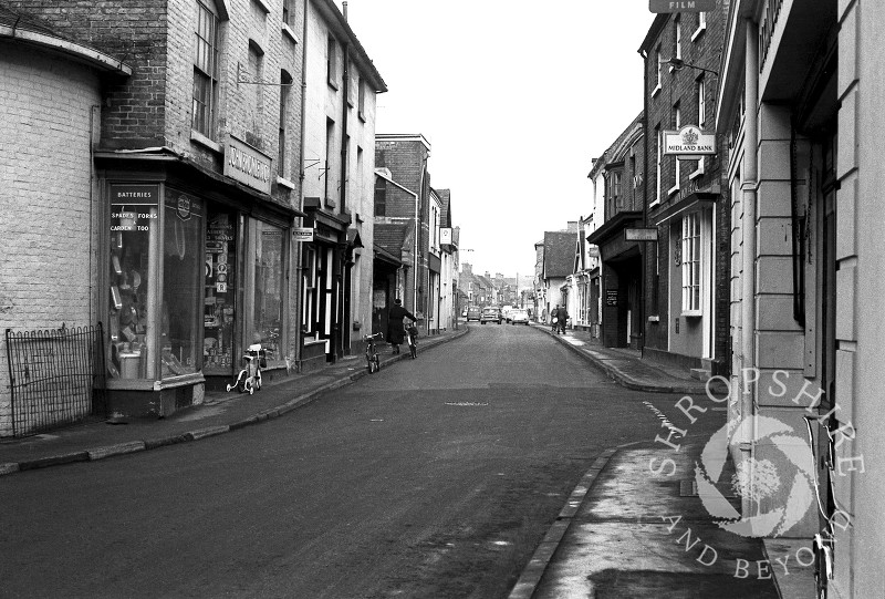 The view along Bradford Street, with John Bromley's ironmonger's shop, Shifnal, Shropshire, in 1965.