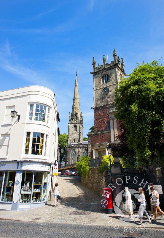 The churches of St Alkmund and St Julian, seen from High Street, Shrewsbury, Shropshire, England.