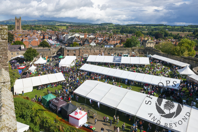 The 2017 Ludlow Food Festival seen from the great tower of Ludlow Castle, Shropshire.