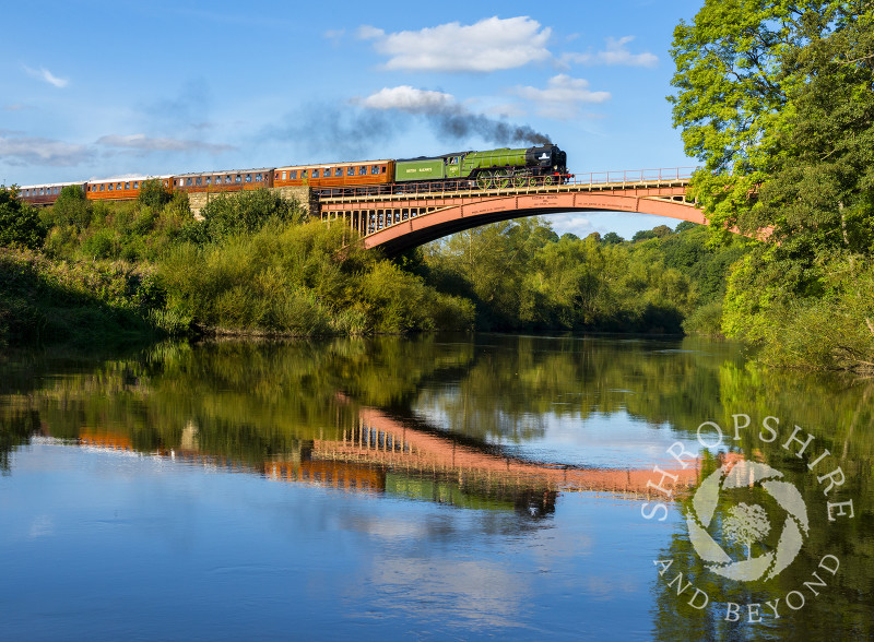 Steam Locomotive 60163 'Tornado' reflected in the River Severn as it crosses Victoria Bridge on the Severn Valley Railway near Arley, Worcestershire.