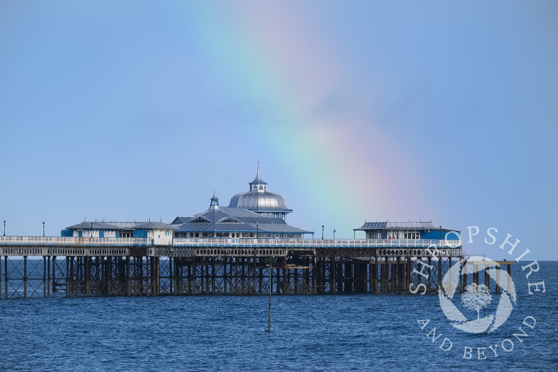 A rainbow over the pier at Llandudno, Conwy, Wales.