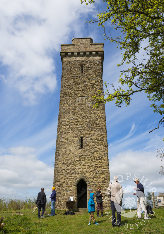 Visitors at Flounders' Folly on Callow Hill near Craven Arms, Shropshire, England.