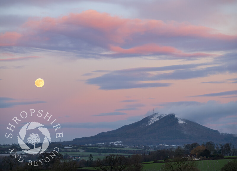 Winter moonrise over the Wrekin, seen from near Cound, Shropshire.