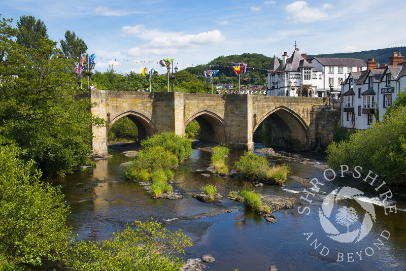 A bridge over the River Dee at Llangollen, Denbighshire, Wales, UK.
