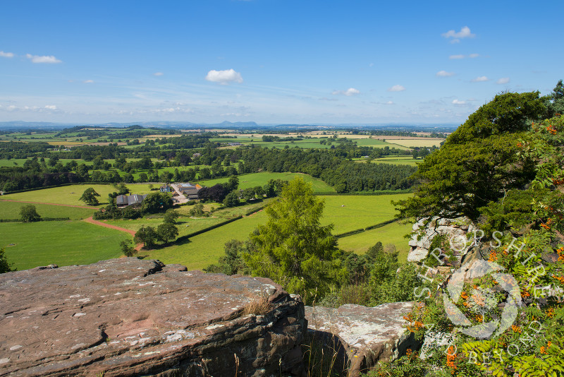 A view of north Shropshire seen from Grinshill Hill, Shropshire, England.