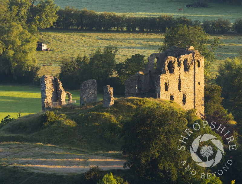Clun Castle at sunrise, south Shropshire.