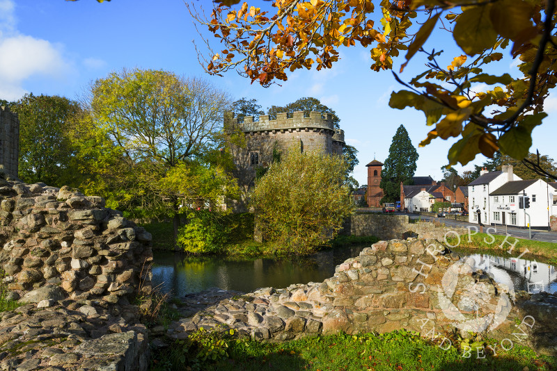 Autumn sunshine on 13th century Whittington Castle, near Oswestry, Shropshire, England.
