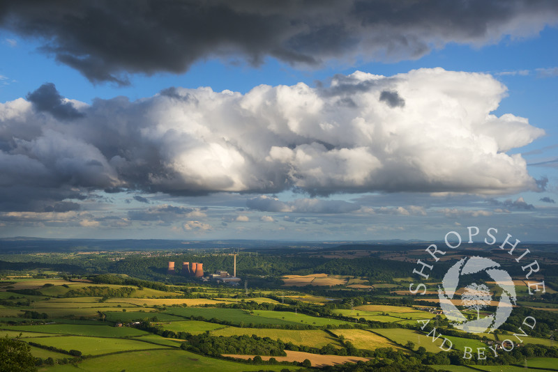 Dramatic clouds over Ironbridge Power Station, seen from the Wrekin, Shropshire.