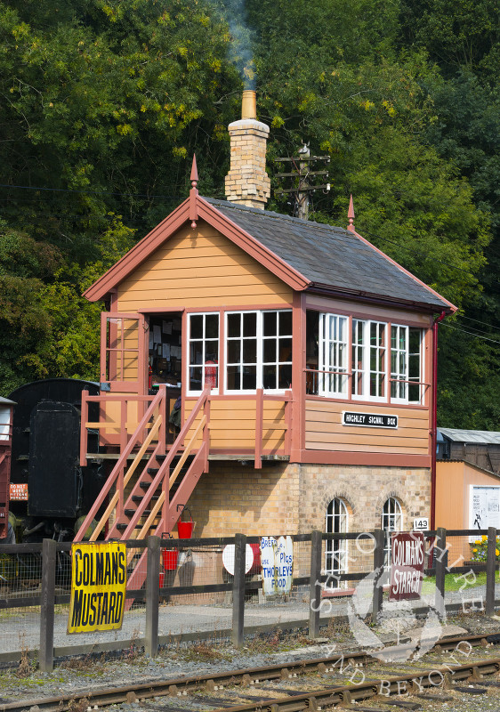 Signal box at Highley Station, Shropshire, on the Severn Valley Railway heritage line.