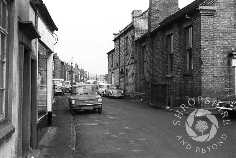 Cheapside and the former library pictured in Shifnal, Shropshire, in 1965.