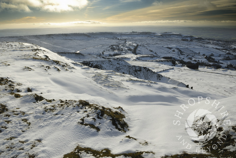 Winter snow on Titterstone Clee Hill, Shropshire, England.