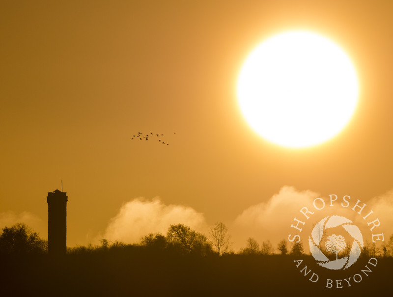 Sunrise over Flounders' Folly on Callow Hill, near Craven Arms, Shropshire.